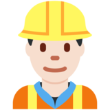 Man Construction Worker: Light Skin Tone on Twitter Twemoji 11.0