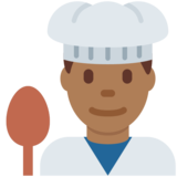 Man Cook: Medium-Dark Skin Tone on Twitter Twemoji 11.0