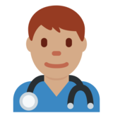 Man Health Worker: Medium Skin Tone on Twitter Twemoji 11.0