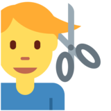 Man Getting Haircut on Twitter Twemoji 11.0