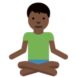 Man in Lotus Position: Dark Skin Tone on Twitter Twemoji 11.0