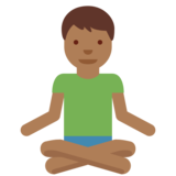Man in Lotus Position: Medium-Dark Skin Tone on Twitter Twemoji 11.0