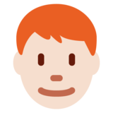 Man: Light Skin Tone, Red Hair on Twitter Twemoji 11.0