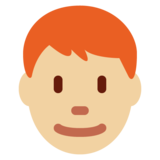 Man: Medium-Light Skin Tone, Red Hair on Twitter Twemoji 11.0
