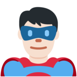 Man Superhero: Light Skin Tone on Twitter Twemoji 11.0
