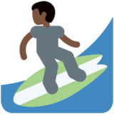 Man Surfing: Dark Skin Tone on Twitter Twemoji 11.0