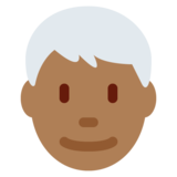 Man: Medium-Dark Skin Tone, White Hair on Twitter Twemoji 11.0