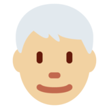 Man: Medium-Light Skin Tone, White Hair on Twitter Twemoji 11.0