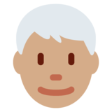 Man: Medium Skin Tone, White Hair on Twitter Twemoji 11.0