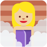 Person in Steamy Room: Medium-Light Skin Tone on Twitter Twemoji 11.0