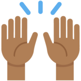 Raising Hands: Medium-Dark Skin Tone on Twitter Twemoji 11.0