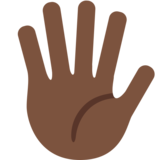 Hand with Fingers Splayed: Dark Skin Tone on Twitter Twemoji 11.0