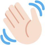 Waving Hand: Light Skin Tone on Twitter Twemoji 11.0