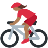 Woman Biking: Medium-Dark Skin Tone on Twitter Twemoji 11.0