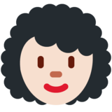 Woman: Light Skin Tone, Curly Hair on Twitter Twemoji 11.0
