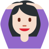 Woman Gesturing OK: Light Skin Tone on Twitter Twemoji 11.0