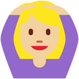 Woman Gesturing OK: Medium-Light Skin Tone on Twitter Twemoji 11.0