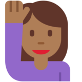 Woman Raising Hand: Medium-Dark Skin Tone on Twitter Twemoji 11.0