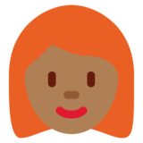 Woman: Medium-Dark Skin Tone, Red Hair on Twitter Twemoji 11.0