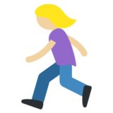 Woman Running: Medium-Light Skin Tone on Twitter Twemoji 11.0