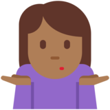 Woman Shrugging: Medium-Dark Skin Tone on Twitter Twemoji 11.0