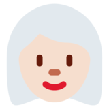 Woman: Light Skin Tone, White Hair on Twitter Twemoji 11.0