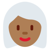 Woman: Medium-Dark Skin Tone, White Hair on Twitter Twemoji 11.0