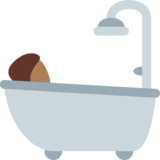 Person Taking Bath: Medium-Dark Skin Tone on Twitter Twemoji 11.1