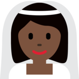 Bride With Veil: Dark Skin Tone on Twitter Twemoji 11.1