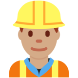 Man Construction Worker: Medium Skin Tone on Twitter Twemoji 11.1