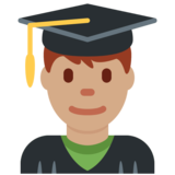 Man Student: Medium Skin Tone on Twitter Twemoji 11.1