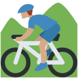 Person Mountain Biking: Medium Skin Tone on Twitter Twemoji 11.1