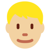 Person: Medium-Light Skin Tone, Blond Hair on Twitter Twemoji 11.1