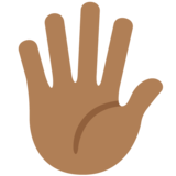 Hand with Fingers Splayed: Medium-Dark Skin Tone on Twitter Twemoji 11.1