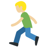 Person Running: Medium-Light Skin Tone on Twitter Twemoji 11.1