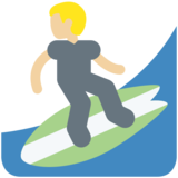 Person Surfing: Medium-Light Skin Tone on Twitter Twemoji 11.1