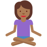 Woman in Lotus Position: Medium-Dark Skin Tone on Twitter Twemoji 11.1