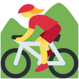 Woman Mountain Biking on Twitter Twemoji 11.1