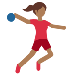Woman Playing Handball: Medium-Dark Skin Tone on Twitter Twemoji 11.1