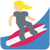 Woman Surfing: Medium-Light Skin Tone on Twitter Twemoji 11.1