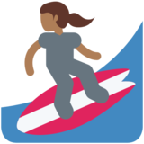 Woman Surfing: Medium-Dark Skin Tone on Twitter Twemoji 11.1