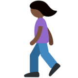 Woman Walking: Dark Skin Tone on Twitter Twemoji 11.1