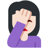 Person Facepalming: Light Skin Tone on Twitter Twemoji 11.2
