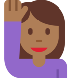 Person Raising Hand: Medium-Dark Skin Tone on Twitter Twemoji 11.2