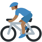 Man Biking: Medium-Dark Skin Tone on Twitter Twemoji 11.2
