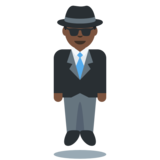 Man in Suit Levitating: Dark Skin Tone on Twitter Twemoji 11.2