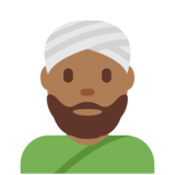 Man Wearing Turban: Medium-Dark Skin Tone on Twitter Twemoji 11.2