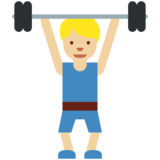 Man Lifting Weights: Medium-Light Skin Tone on Twitter Twemoji 11.2