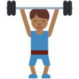 Man Lifting Weights: Medium-Dark Skin Tone on Twitter Twemoji 11.2