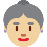 Old Woman: Medium-Light Skin Tone on Twitter Twemoji 11.2